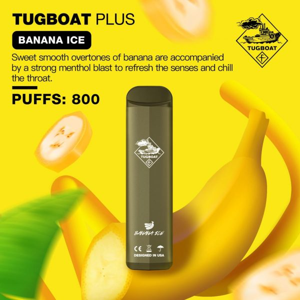 Tugboat Plus Banana Ice- Disposable Puffs: 800 in Dubai/UAE
